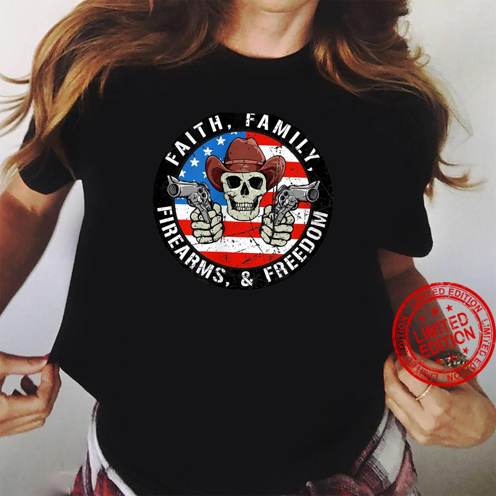 Printed on Back Faith Family Firearms Freedom 4th of July Shirt ladies tee
